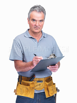Buy stock photo Mature supervisor wearing a tool belt and making notes isolated on white background