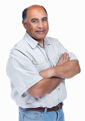 Buy stock photo Portrait of a mature man with hands folded isolated against white background