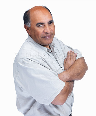 Buy stock photo Portrait of a happy mature man with hands folded isolated on white