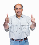 Mature man gesturing a positive sign on white