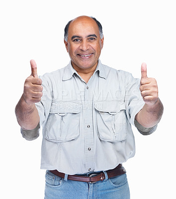 Buy stock photo Portrait of a middle aged man gesturing a positive sign on white background