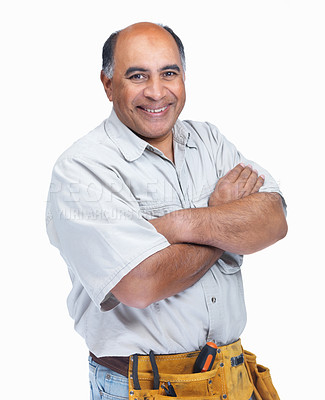 Buy stock photo Portrait of a smiling mature handyman with hands folded isolated on white