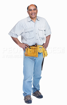 Buy stock photo Full length of a smiling mature carpenter standing isolated on white