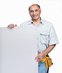 Smiling mature handyman displaying an advertisement board