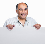 Happy mature man holding an advertisement board on white