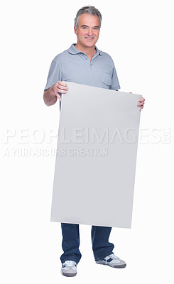 Buy stock photo Full length of a smiling elderly man holding a blank billboard isolated on white