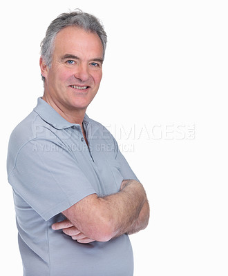 Buy stock photo Side view of a confident senior man standing with copyspace on white background
