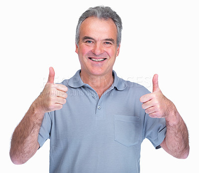 Buy stock photo Portrait of an old man gesturing a positive sign isolated on white background