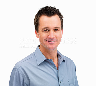 Buy stock photo Closeup portrait of a smart middle aged man isolated on white background