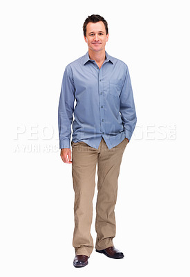 Buy stock photo Full length portrait of a smart middle aged man isolated on white background