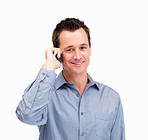 Portrait of a middle aged man using a cell phone on white