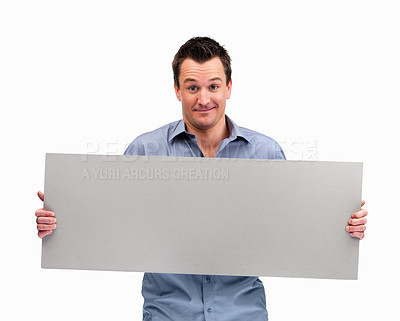 Buy stock photo Middle aged man holding blank board ready for text against white background