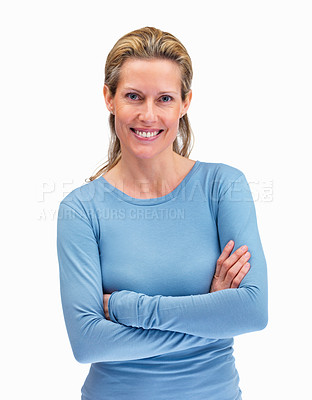 Buy stock photo Happy middle aged woman with hands folded standing on white background