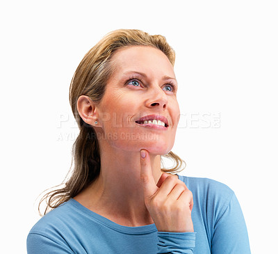 Buy stock photo Pretty mature woman looking at copy space on white background