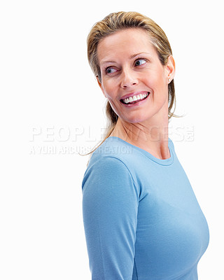 Buy stock photo Pretty middle aged woman looking at copy space on white background