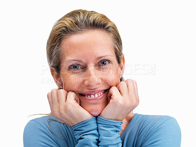 Buy stock photo Closeup of a sweet mature woman looking at you on white background