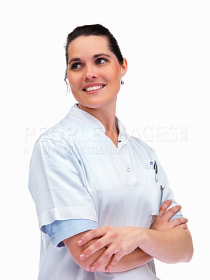 Buy stock photo Portrait of a smart young nurse looking away against white background