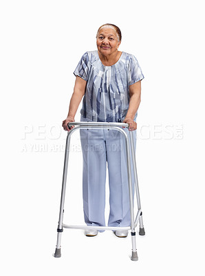 Buy stock photo Full length portrait of an elderly woman with a walker against white background