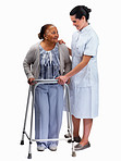 Nurse helping a senior woman with a walker