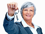 Real estate agent with keys on white background