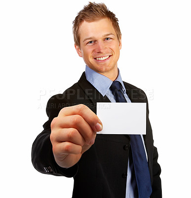 Buy stock photo Business man handing a blank business card over white background