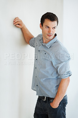 Buy stock photo Portrait of good looking man posing with hand in pocket