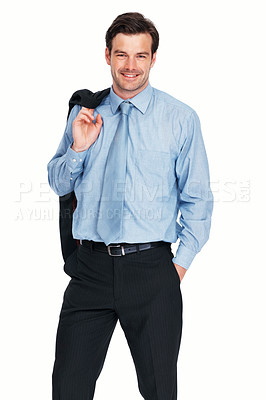 Buy stock photo Portrait of relaxed young business man with coat over shoulders on white background