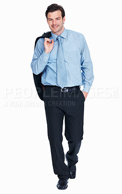 Buy stock photo Full length of smiling business man with coat over shoulders on white background