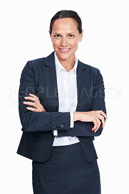 Buy stock photo Portrait of beautiful mixed race woman smiling with hands folded over white background