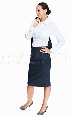 Buy stock photo Full length of relaxed business woman standing with coat over shoulders on white background