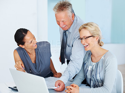 Buy stock photo Portrait of happy business people having good time while discussing project in office