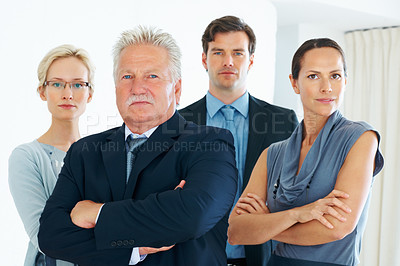 Buy stock photo Portrait of confident senior business man along with his dedicated colleagues