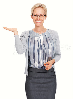 Buy stock photo Portrait of smiling beautiful business woman presenting over white background