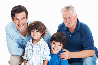 Buy stock photo Portrait of handsome man with father and children on white background