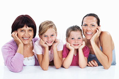 Buy stock photo Portrait of mature woman with daughter and granddaughters on white background