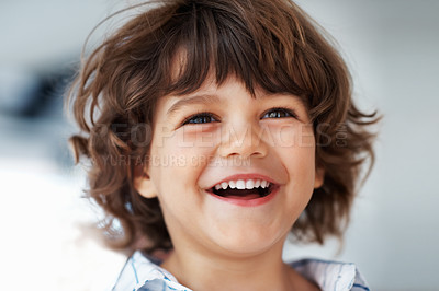 Buy stock photo Closeup portrait of cute little boy laughing
