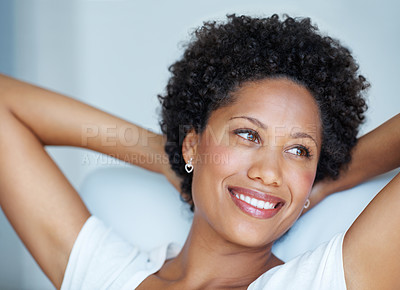 Buy stock photo Closeup portrait of beautiful woman relaxing with hands behind head