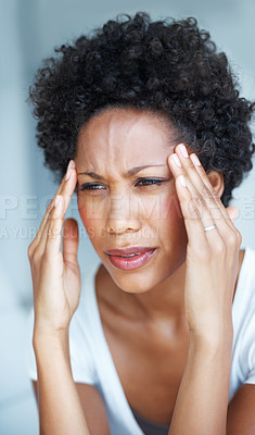 Buy stock photo Closeup portrait of African American woman with painful headache or migraine