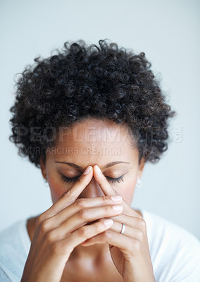 Buy stock photo Closeup of African American woman with terrible headache