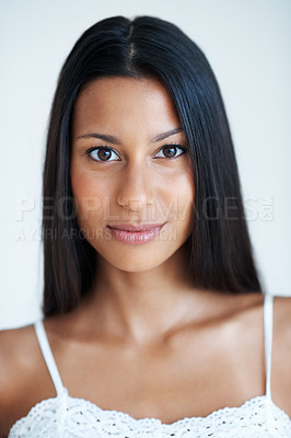 Buy stock photo Closeup portrait of attractive mixed race woman with confident look