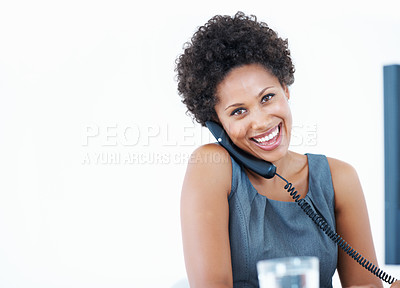 Buy stock photo Closeup African American business enjoying phone conversation at work desk