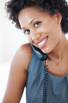 Buy stock photo Closeup portrait attractive African American business woman smiling while talking on phone