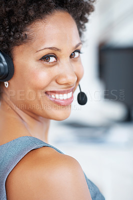 Buy stock photo Portrait of beautiful female call center employee smiling at work