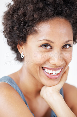 Buy stock photo Closeup of charming African American woman smiling with hand on chin