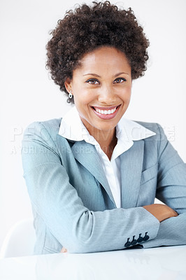 Buy stock photo Portrait of successful female executive smiling in business suit