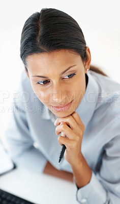 Buy stock photo Mixed race business woman in deep thought looking away