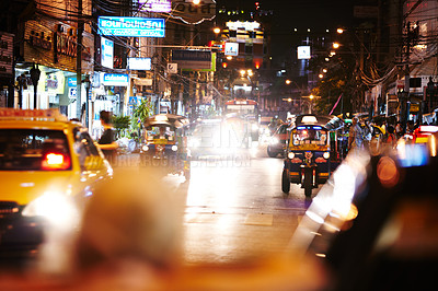 Buy stock photo Heavy traffic in Thailand at night