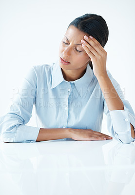 Buy stock photo Young business woman with painful headache holding head