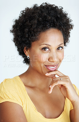 Buy stock photo Closeup portrait of lovely African American woman smiling over white background