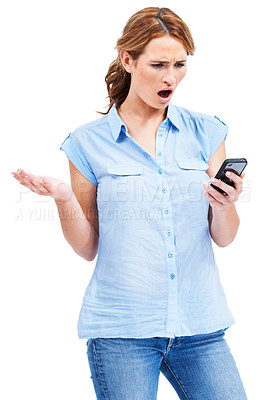 Buy stock photo Beautiful young woman looking shocked and offended by a rude text message